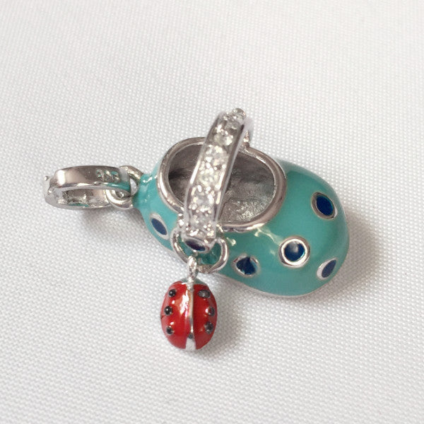 Sterling silver and enamel blue baby shoe charm