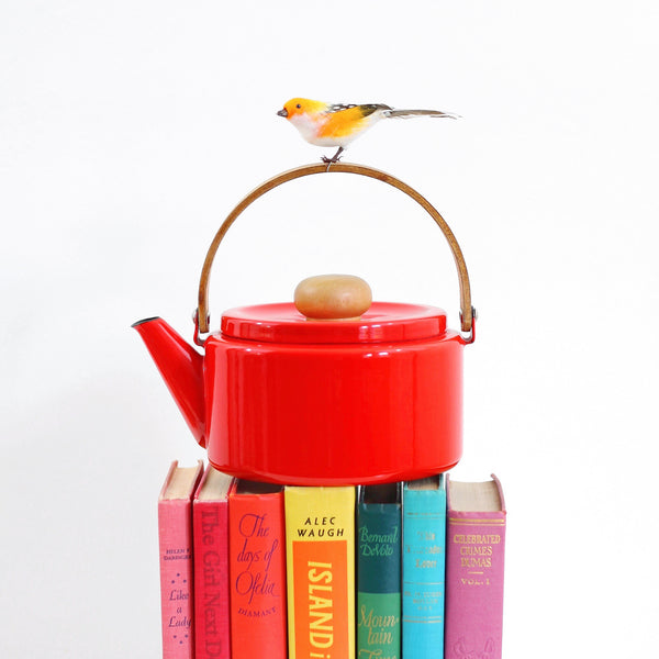 Vintage Red Enamel Tea Kettle