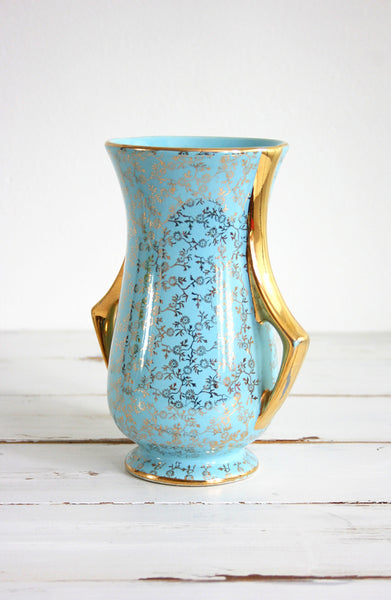 SOLD - Vintage Pearl China Co. Aqua Blue and 22 kt Gold Vase