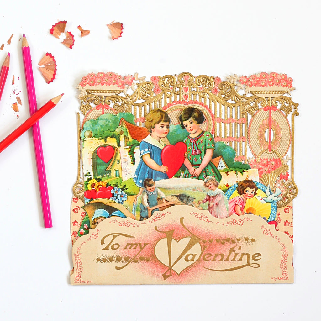 Antique Fold Out Valentine from Germany // To My Valentine