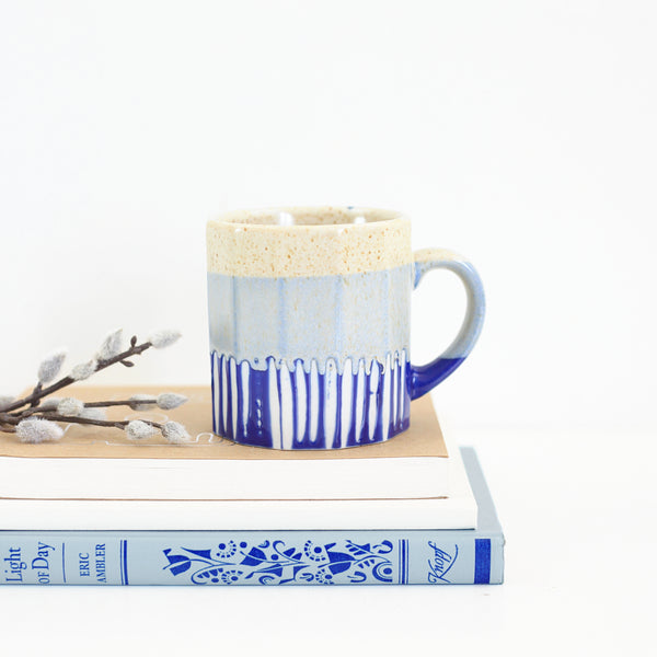 SOLD - Vintage Blue Striped Pottery Mug