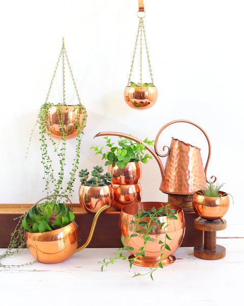 SOLD - Vintage Footed Hanging Copper Planter by Coppercraft Guild