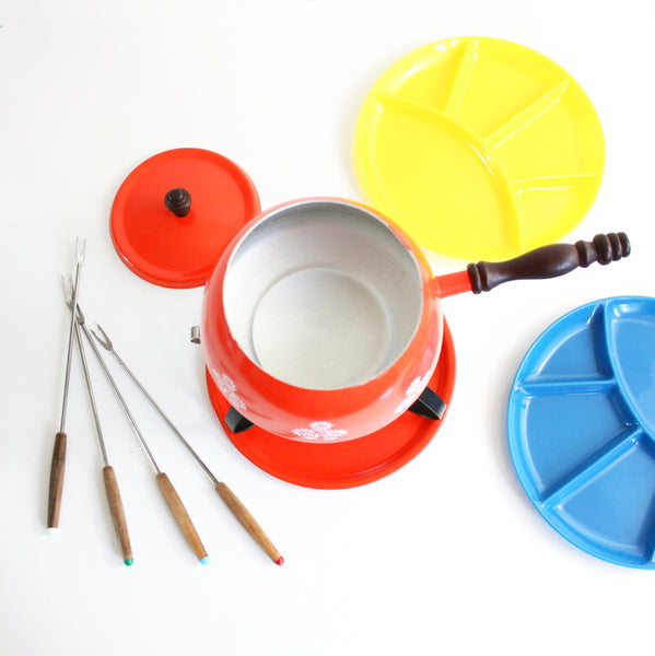 SOLD - Colorful Vintage Fondue Set / Mid Century Fondue Pot With Colorful Plates and Forks