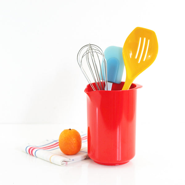 Danish Modern Red Rosti Mepal Utensil Holder