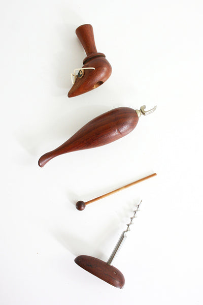 SOLD - Vintage Danish Modern Wooden Bird Bar Tools / Mid Century Bird Cork Screw & Bottle Opener