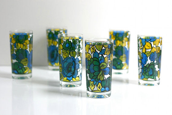 SOLD - Vintage Mid Century Modern Colorful Floral Drinking Glasses