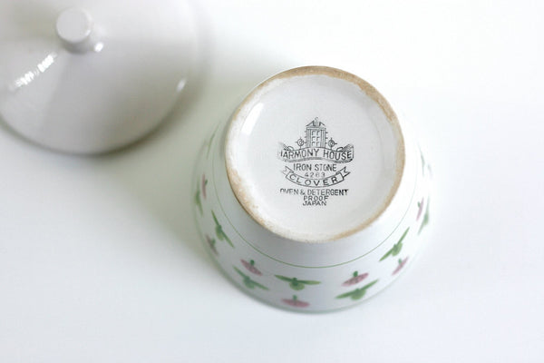 SOLD - Vintage Ironstone Clover Sugar Bowl by Harmony House