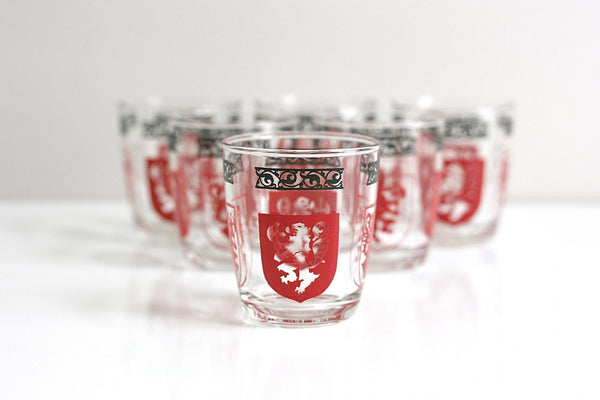 Mid Century Swanky Swigs Lion and Shield Crest Cocktail Glasses
