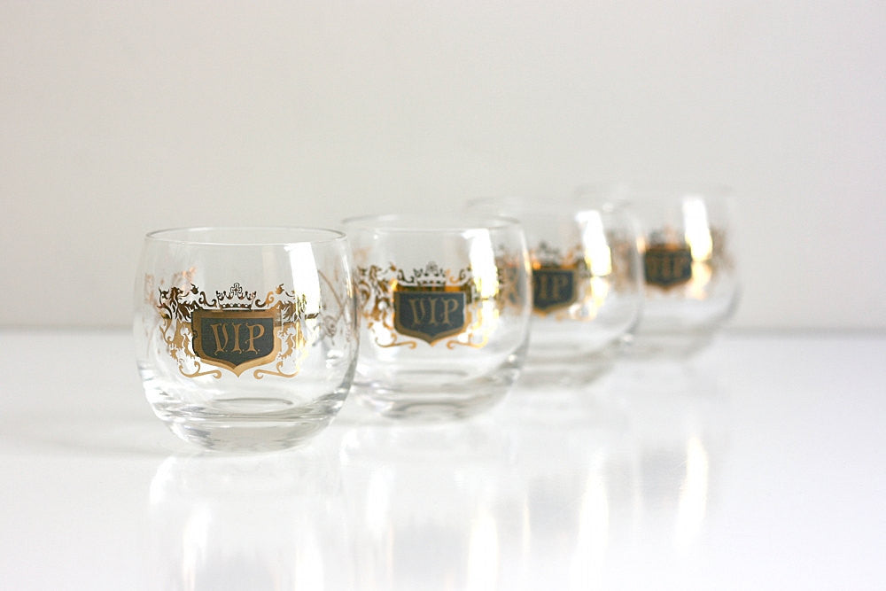 SOLD - Vintage Mid Century Black and Gold Roly Poly VIP Glasses