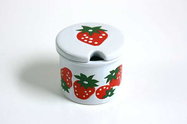 SOLD - Vintage Ceramic Strawberry Jam Jar by Waechtersbach of West Germany