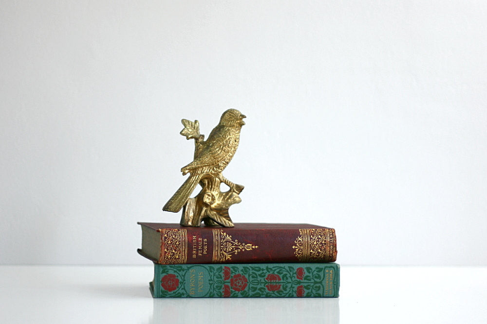 SOLD - Vintage Mid Century Brass Bird Figurine