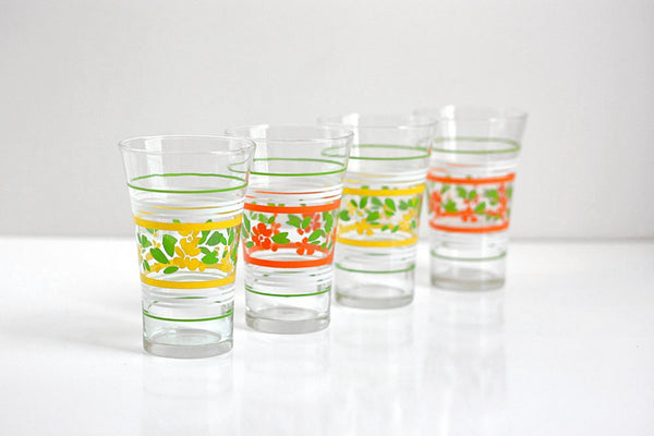 Vintage Libbey Colorful Flower Drinking Glasses