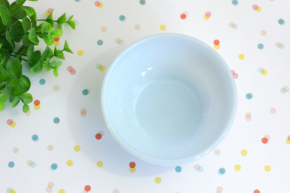 SOLD - Mid Century Fire King Pale Blue Azurite Chili Bowl