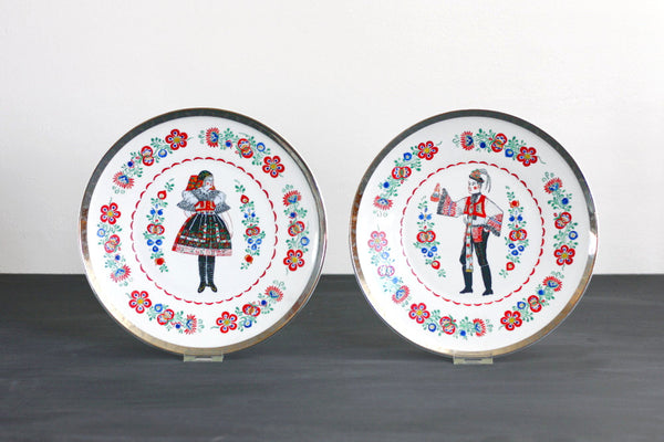 SOLD - Vintage Epiag Hand Decorated Wall Plates - Traditional Folk Man and Woman