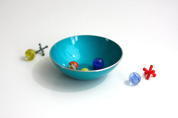 SOLD - Mid Century Modern Turquoise Blue Emalox Anodized Aluminum Bowl from Norway