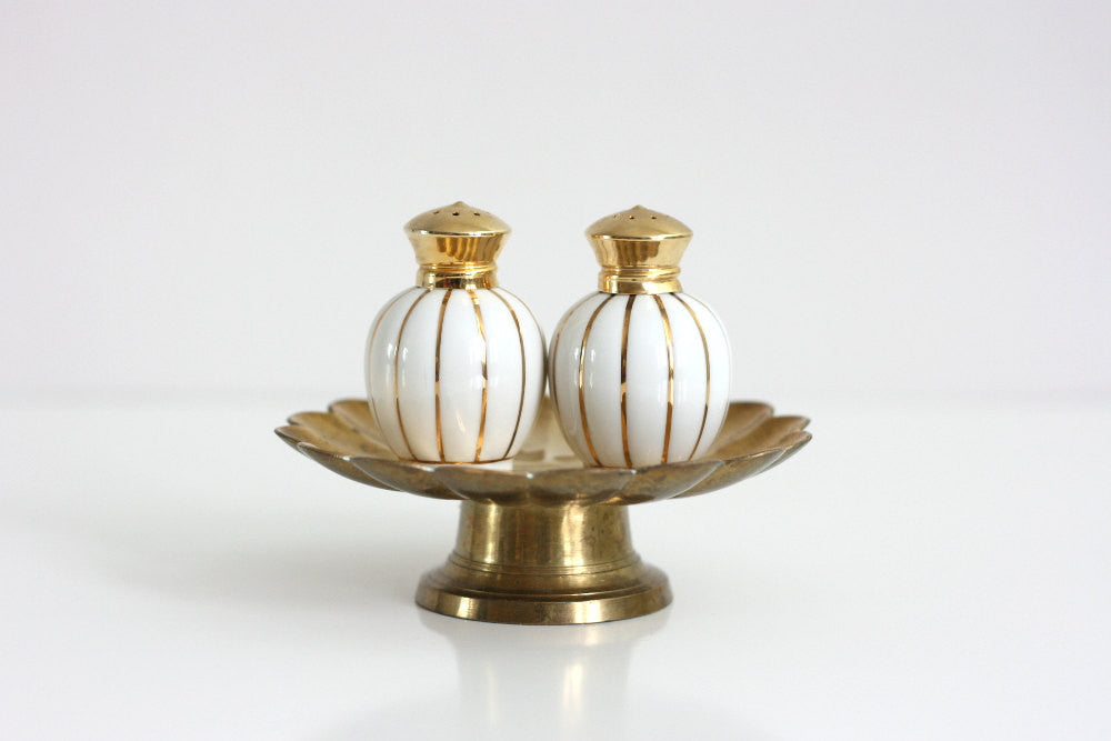 SOLD - Mid Century Gold and White Striped Salt and Pepper Shakers by Irice