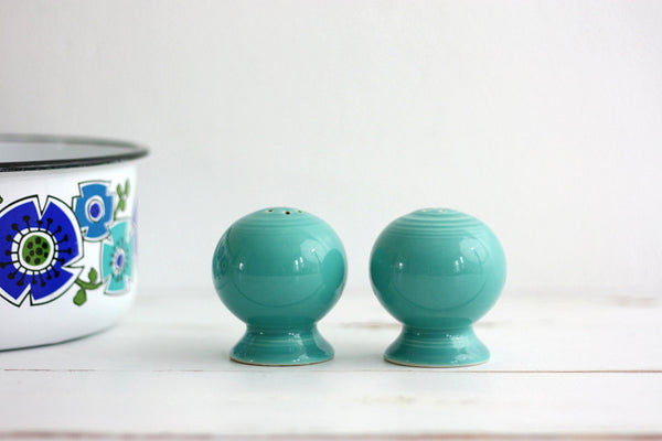SOLD - Vintage Turquoise Fiestaware Salt and Pepper Shakers