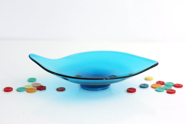SOLD - Mid Century Modern Turquoise Viking Glass Dish / Peacock Blue Epic Atomic Dish