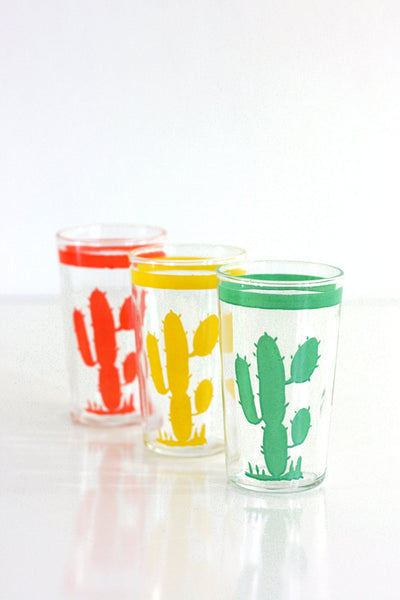 SOLD - Vintage Homer Laughlin Hacienda Cactus Go Along Optic Glasses