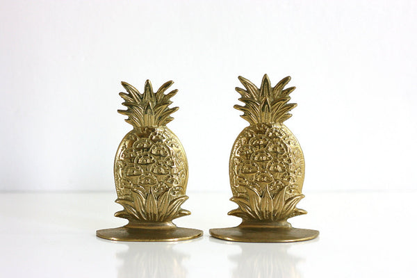 SOLD - Mid Century Brass Hollywood Regency Pineapple Bookends