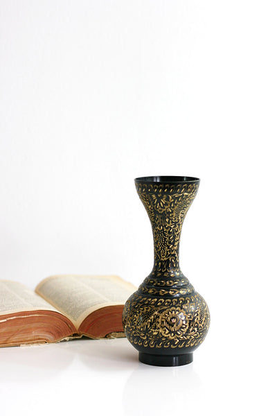 SOLD - Vintage Etched Brass Gold and Black Enameled Vase from India