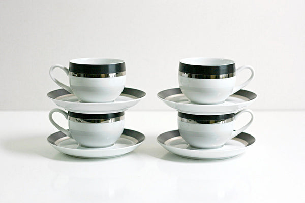SOLD - Mid Century Modern Pivotal Cups and Saucers in Montina by Ben Seibel for Mikasa