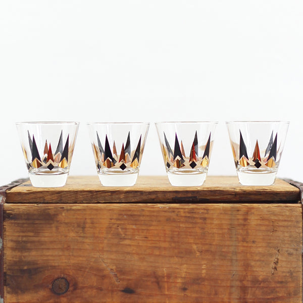 Mid Century Golden Peaks Black & Gold Double Shot Glasses