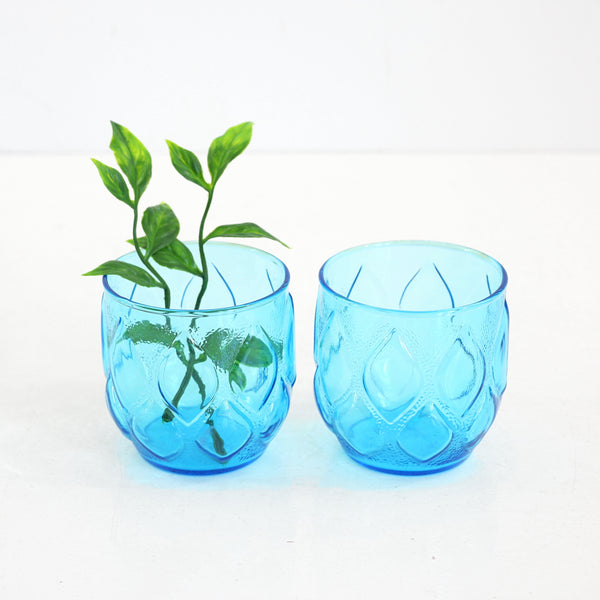 Mid Century Modern Turquoise Blue Madrid Glasses by Anchor Hocking