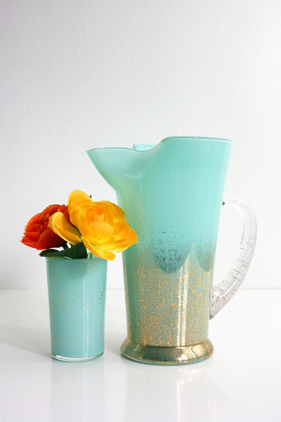 SOLD - Mid Century Modern Aqua and Gold Maritni Pitcher / Vintage Cocktail Pitcher and Glass