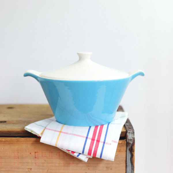 SOLD - Mid Century Aqua Blue Heaven Covered Dish