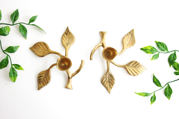 SOLD - Pair of Mid Century Brass Candlesticks - Leafy Branch Candle Holders