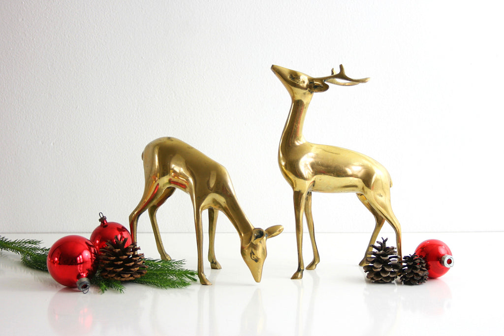 SOLD - Mid Century Modern Brass Deer Pair / Large Vintage Brass Deer Figurines