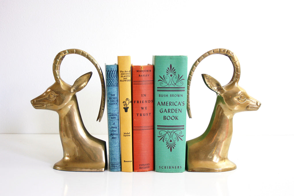 SOLD - Mid Century Brass Gazelle Bookends
