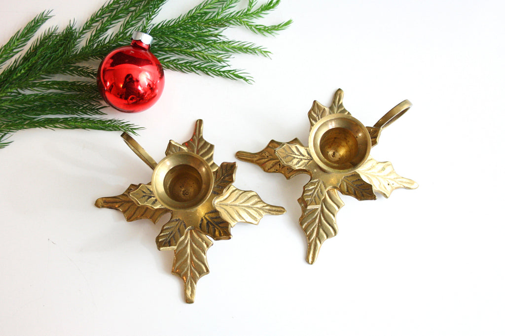 Vintage Brass Christmas Tree Candle Holder.Sold Mid Century Brass Leaves Candlesticks Vintage Brass