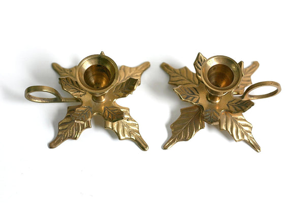 SOLD - Mid Century Brass Leaves Candlesticks / Vintage Brass Christmas Candlesticks