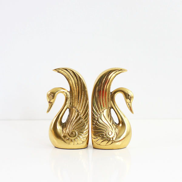 SOLD - Mid Century Brass Swan Bookends