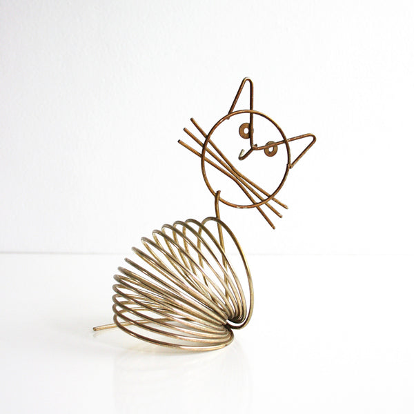 SOLD - Mid Century Modern Brass Cat Letter Holder / Vintage Desk Organizer by Richard Galef for Ravenwire