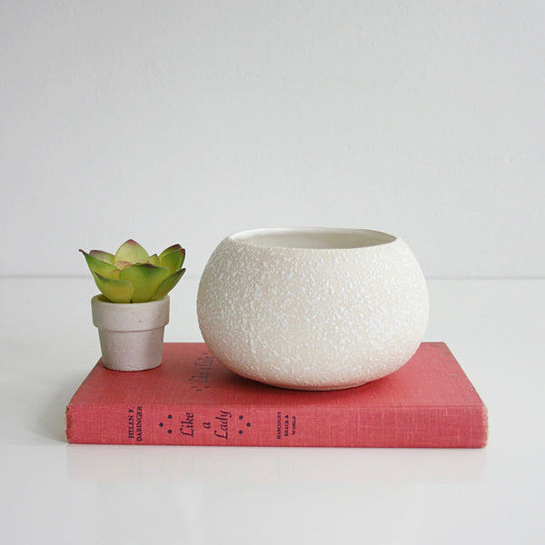 SOLD - Mid Century White Splatter Glaze Planter by California Originals