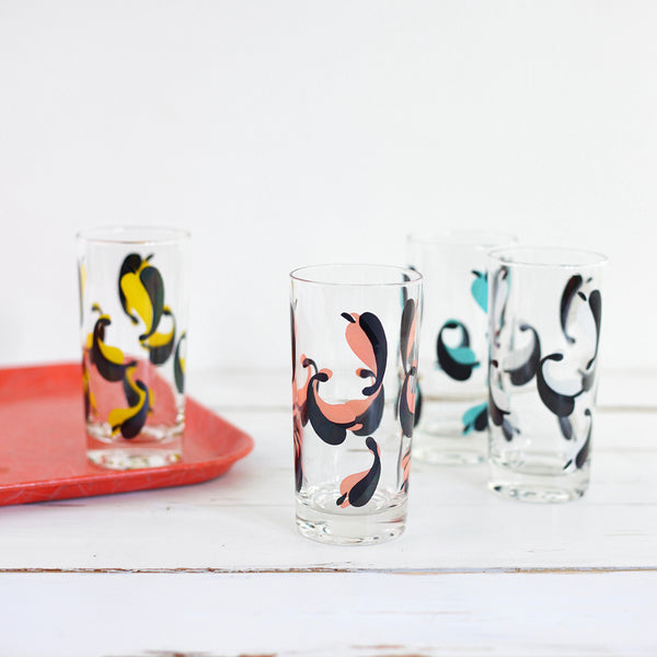 SOLD - Mid Century Modern Drinking Glasses / Colorful Leaves