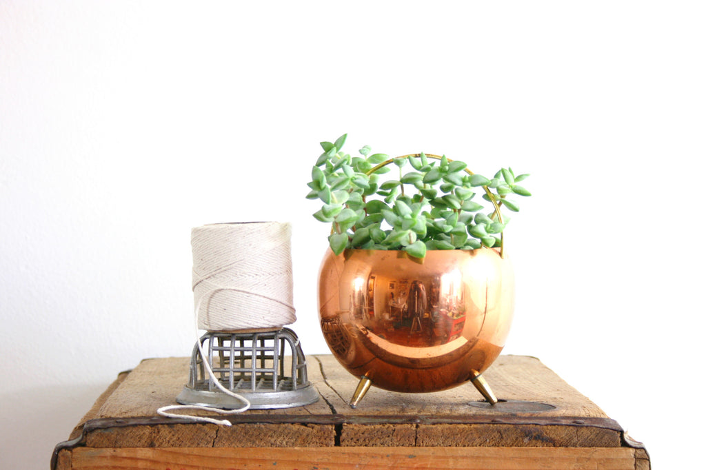 SOLD - Vintage Copper Footed Planter by Coppercraft Guild / Retro Copper and Brass Plant Pot