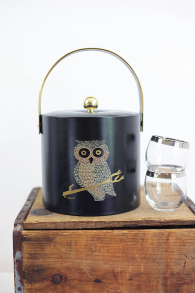 SOLD - Mid Century Couroc Owl Ice Bucket