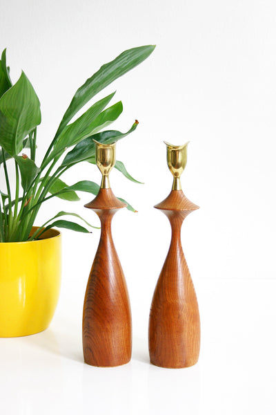 SOLD - Mid Century Modern Wood and Brass Candlesticks / Danish Modern Candle Holders