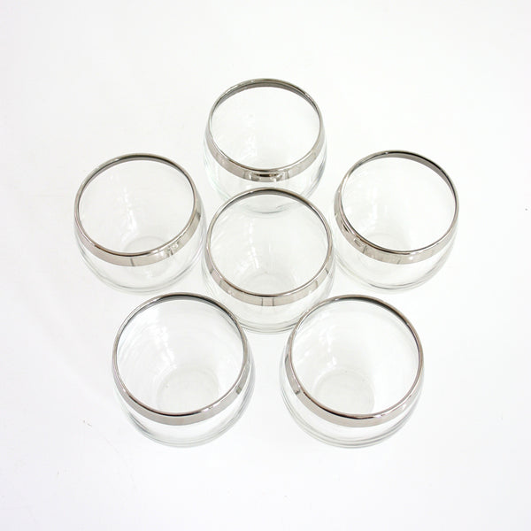 SOLD - Set of Six Mid Century Silver-Rimmed Roly Poly Glasses
