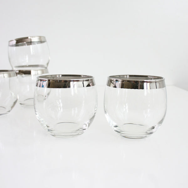 Set of Six Mid Century Silver-Rimmed Roly Poly Glasses