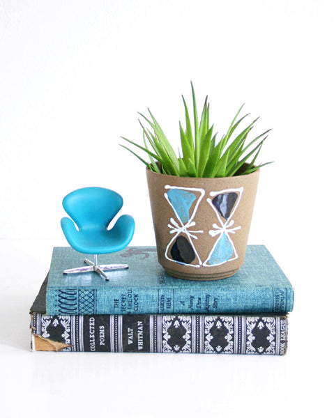 SOLD - Mid Century Modern Triangles Planter / Vintage Geometric Flower Pot
