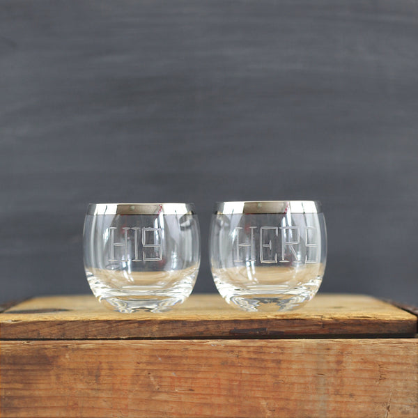 SOLD - Mid Century Modern His & Hers Silver Rim Cocktail Glasses