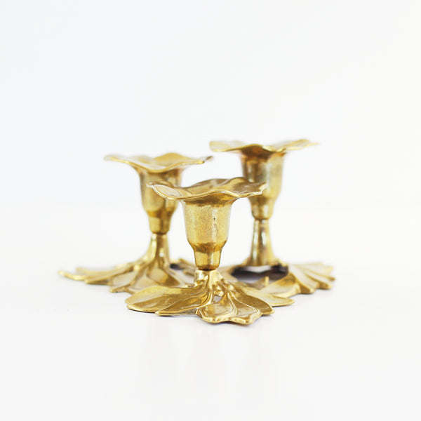 SOLD - Vintage Art Nouveau Brass Candlesticks from Italy