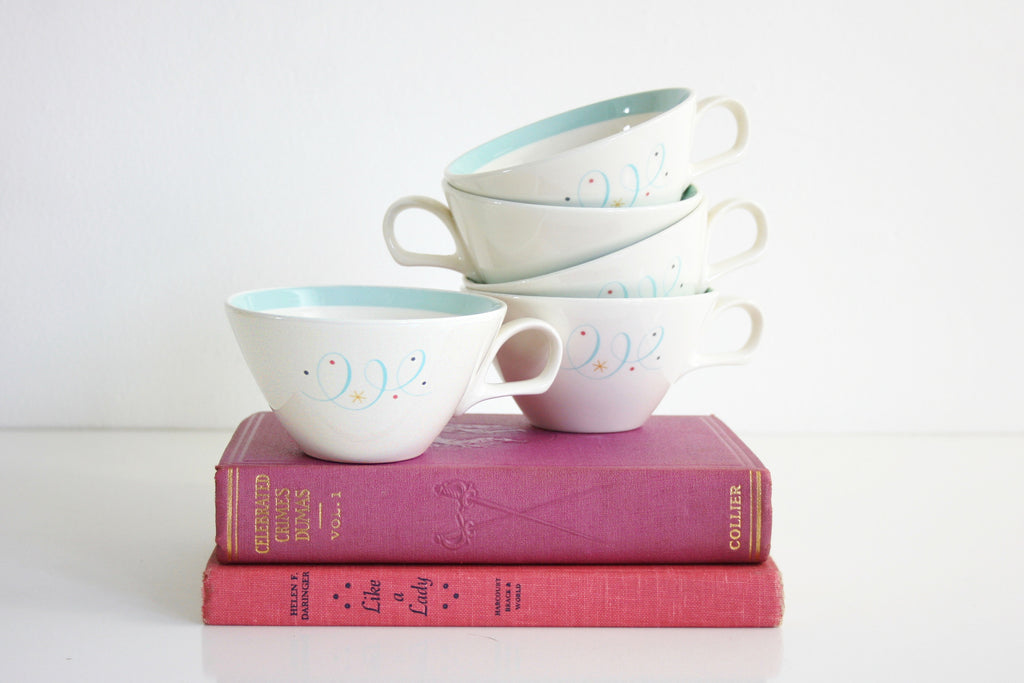 SOLD - Mid Century Modern Turquoise Scroll Starburst Tea Cups by Homer Laughlin