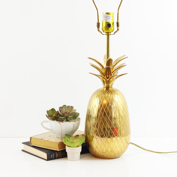 XL Vintage Brass Pineapple Table Lamp