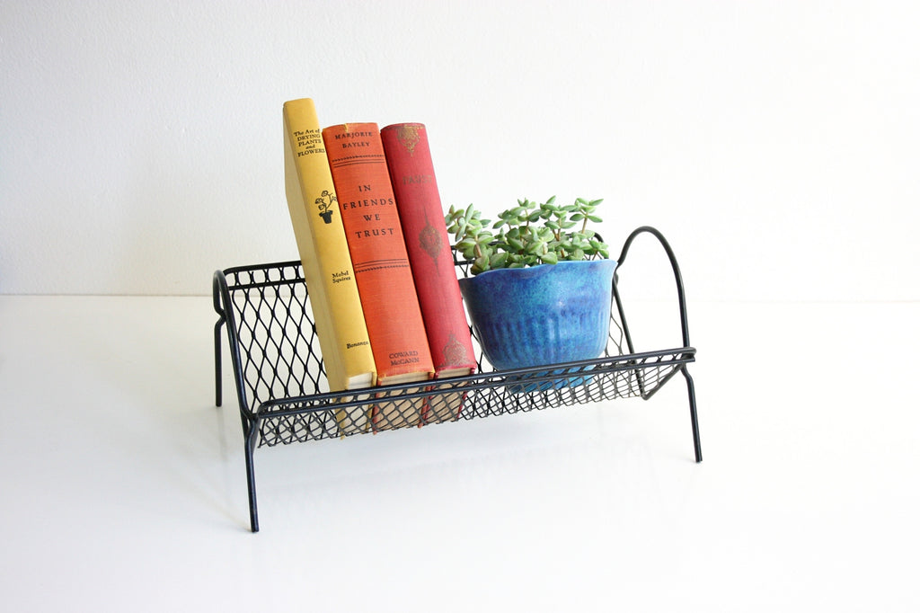 SOLD - Mid Century Modern Metal Book Rack / Vintage Black Metal Desktop Book Shelf